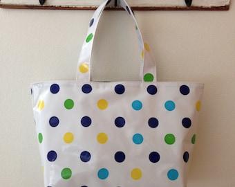 Beth's Large Blue Tokyo Dot Oilcloth Market Tote Bag