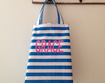 Beth's Personalized Stripes Oilcloth Market Sac
