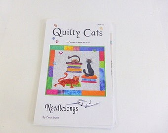 Quilty Cats Fusible Applique Pattern Needlesongs Quilt Pattern Carol Bruce Cat Wall Hanging Pattern CAW-15