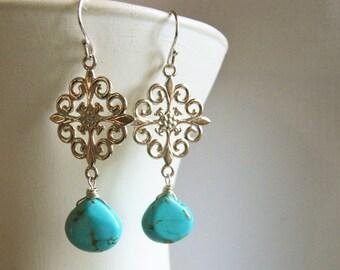 Turquoise Earrings, Turquoise Scroll Earrings, Simple Sterling Earrings, Drop Earrings, Chandelier Earrings