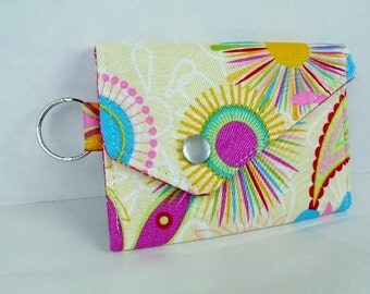 Sunburst Flowers Card Holder Coin Purse with Snap Closure and Key Ring Yellow Hot Pink Turquoise