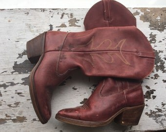 "Red ""foot loose"" Vintage Cowboy Boots"