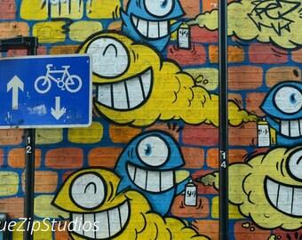 East London graffiti photograph. London photography, urban, art print, East London art, cartoon, bike, wall art, contemporary