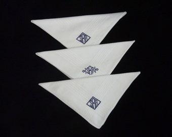 Monogrammed Handkerchiefs. Diamond Frame Monogram Hankie.Mens Monogram Hankie. Mens Handkerchief Set. Personalized Handkerchief