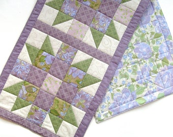Floral Patchwork Star Bloom Table Runner - Shower of Flowers 16x45 inches