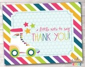 Printable Thank You Card Design - Rainbow Stripes Roller Skating Party