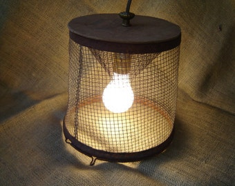 Minnow Trap Light Vintage Upcycle Repurpose Industrial 1950s