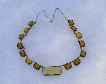 Pretty Deco Open Back Citrine & Brown Topaz Crystal Necklace