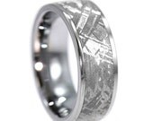 Men's Tungsten Wedding Band, Meteorite Ring With Tungsten Carbide, Unique Men's Ring