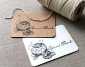 20 Pin Cushion Mini Thank You Cards, sewing flat thank you cards, quilting gift tags, sewing gift tags, pin cushion gift tags