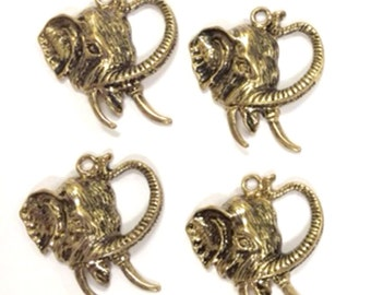 Set of 4 Elephant Head Charms Antique Gold-tone