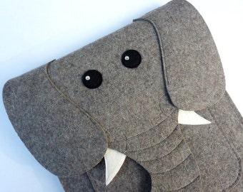 Elephant MacBook Air 11 inch case - Laptop felt sleeve - Animal shoulder bag