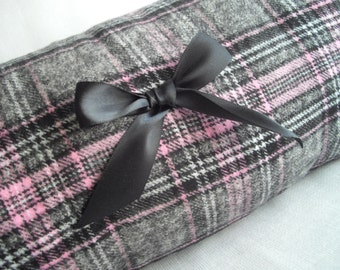 Pink and Grey Plaid Vintage Inspired Reversible Hand Muff Hand Warmer Two Muffs In One Pockets All New Materials Handmade by handcraftusa