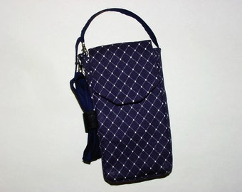 Cell Phone iPhone Smartphone Evo Droid Small Mini Purse Purse Cross Body Bag: Navy Blue Diamond Print