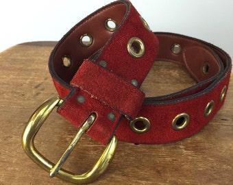 Vintage RED SUEDE Belt • 1970s Accessories •Late 1960s Brass Riveted Metal Buckle Studs Belt • Women Small Belt Hippie Western Wear