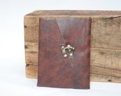 Brown Leather Address Book with Letter Tabs by Binding Bee