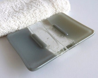 Fused Glass Soap Dish in Shades of Gray