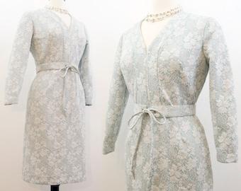 Vintage 60s 70s Dress / Lurex Dress / Polyester Knit / Cocktail Dress / Sparkle Silver Blue M