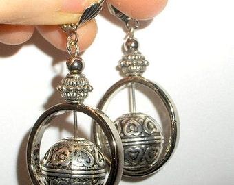 Silver earrings - Round silver metal drop earrings, bohemian funky jewelry