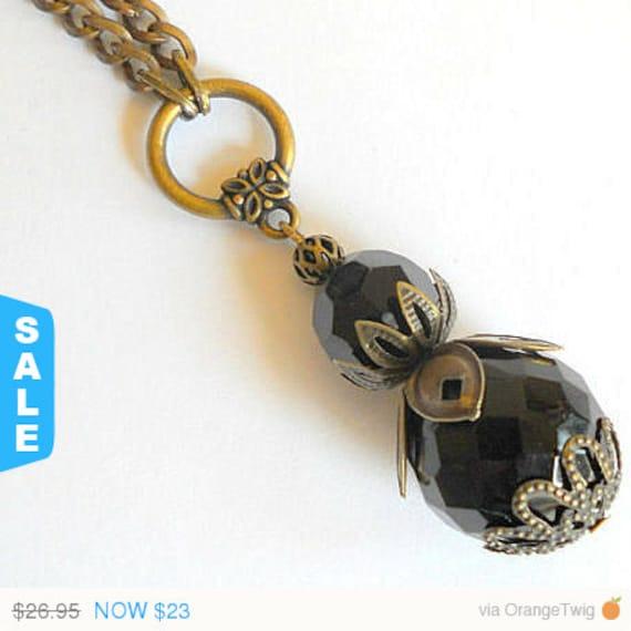 Sale Black pendant necklace, bohemian necklace, long rustic chain necklace, long black necklace, Brass boho jewelry