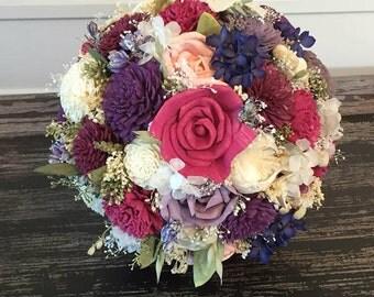 Sangria, fuchsia, purple, blush and ivory Wedding Bouquet - sola flowers - choose colors - Custom - Alternative bouquet- bridesmaids bouquet