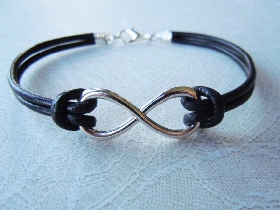 Infinity Bracelet, Leather Bracelet, Silver Infinity, Infinity Jewelry, Black Infinity, Birthday Gift, Friendship, Teen Jewelry, Teen Gifts