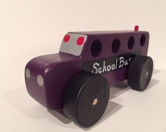 Toy Purple Wooden School Bus - Handcrafted Wooden Purple School Bus Toy