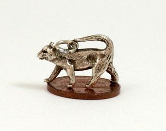 Leopard Charm, Leopard Pendant, Sterling Silver, Vintage Charm, Bracelet Charm, English Charm, Jaguar, Cheetah, Panther, Wild Cat