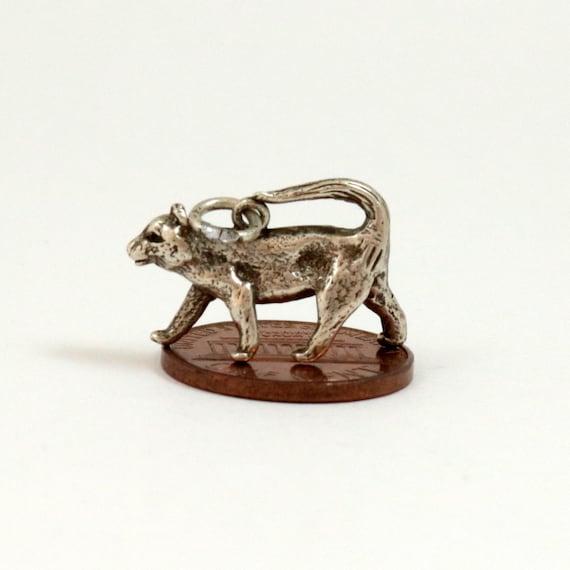 Vintage Sterling Silver Leopard Charm Pendant
