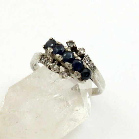 Vintage Sterling Silver Blue Sapphire Ring, US Size 6-3/4, UK Size N