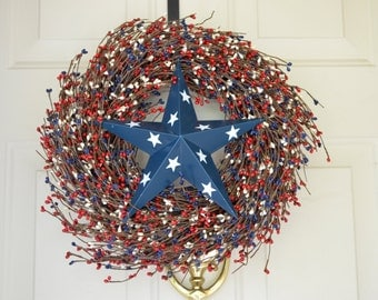 Navy Blue Barn Star (painted with white stars) Wreath Red White and Blue berries Fourth of July or Memorial Day wreath  Front door decor