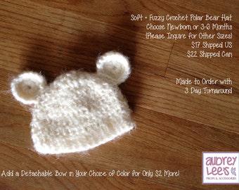 Soft Fuzzy Polar Bear Beanie Hat Newborn 3-6 Months