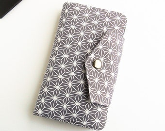 Passport Wallet, Travel Wallet, Family Passport Holder in White Geometric Stars on Grey, To Fit Up to Four Passports -  Made To Order