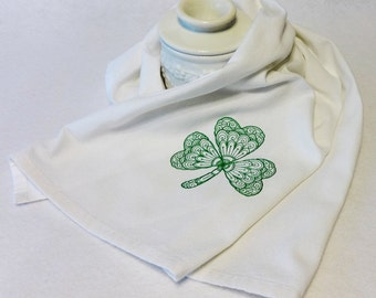 Shamrock Towel - Cotton Hand Towel - Embroidered Towel- St. Patrick's Day Towel, Irish Towel, Celtic Towel