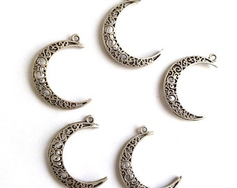3 pcs- Matte Silver Plated Moon crescent charm-40x30mm-(416-027SP)