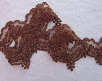 Cocoa Brown beaded flower lace trim embellished embroidered organza doll bridal with pearls sequins flowers