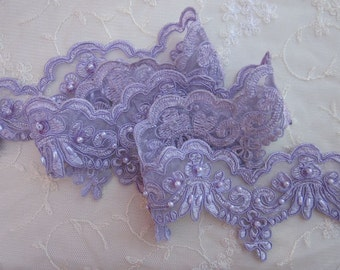 Lavender beaded flower lace trim embellished embroidered organza doll bridal with pearls sequins flowers