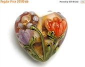 ON SALE 50% OFF Light Pink w/Orange Floral Heart Focal Bead - Handmade Glass Lampwork Bead 11815005