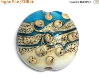 ON SALE 50% OFF Weave w/Bubble Lentil Focal Bead - Handmade Glass Lampwork Bead 11807302