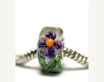 ON SALE 50% OFF Large Hole Regalia Flower Rondelle - Sc10108-Handmade Glass Lampwork Beads