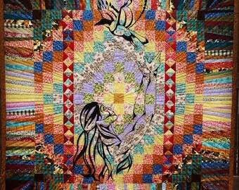 Early Flight original Art Quilt Patchwork Applique ~ Lazy Mare Homegrown Original ~ signed