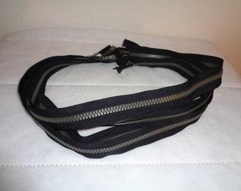 """Lot of 5  two way zipper, plastic molded zipper, gauge 5 black gray lot 5 pcs 33"""", YKK Vislon zipper"""