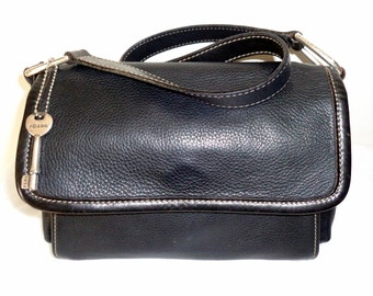 Fossil small shoulder bag , purse-organizer, satchel in thick buttery  black genuine leather vintage very soft, clean condition