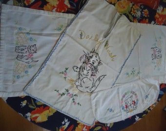 Charming Vintage embroidery Daily Wash Feline Kitty Cat Laundry Bag and Dresser Scarf Scottie Dog Toilet Tank Scarf Lot