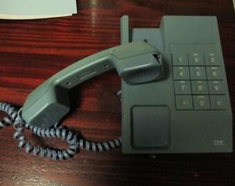 Vintage Light Blue ITT Cortelco Push Button Phone Big Button Telephone FLAWED