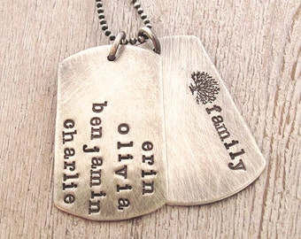 Father's Necklace - Personalized Family Necklace - Gift for him - Name Necklace