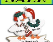 GOOSE COUPLE Personalized Christmas Ornament with Gift Bag