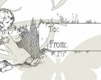 Birthday Printable Gift Tag Download Template Baby Girl Digital Illustration