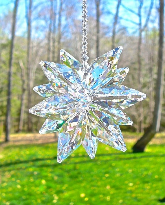 "HUGE, Largest Swarovski Crystal Cluster Suncatcher Available, Window Ornament, Lightcatcher, 2"" in Diameter, Breathtaking, ""STELLA Venti"""