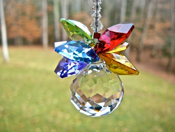 "Rainbow Pineapple Pineapple Suncatcher - Swarovski Crystal Rainbow Maker for Car Rearview Mirror or Home Window - ""OLIVIA"""